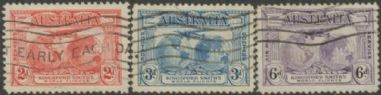 Australia KGV SG121-3 1931 Kingford Smith's World Flights set of 3 (AGCU/384)